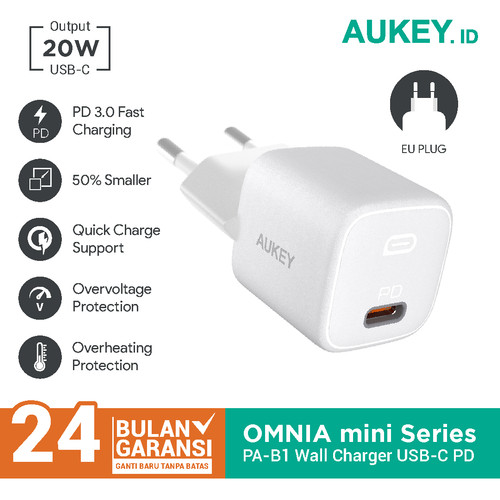 Foto Produk Charger Aukey PA-B1 Omni Mini Series USB-C PD 3.0 - 500725 dari AUKEY