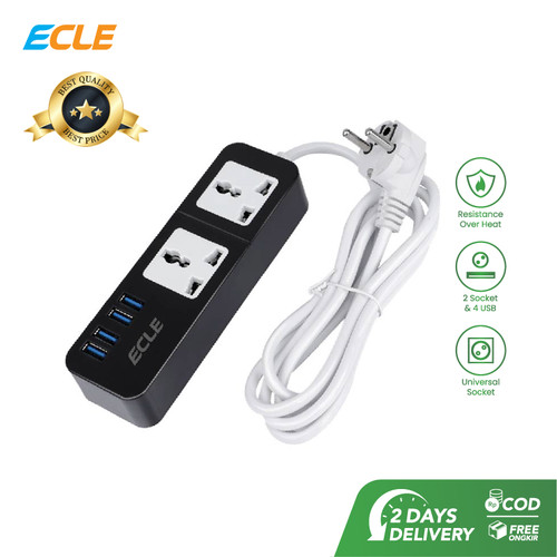 Foto Produk ECLE Original Power Strip Stop Kontak 2 Power Socket 3 Smart USB Port - Hitam dari ECLE Official Store