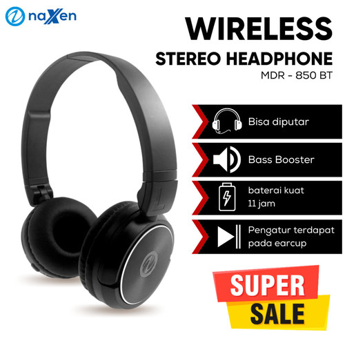 Foto Produk Naxen Headphone Headset Bluetooth MDR850 With Microphone Extra Bass - Merah dari TokoUsbcom