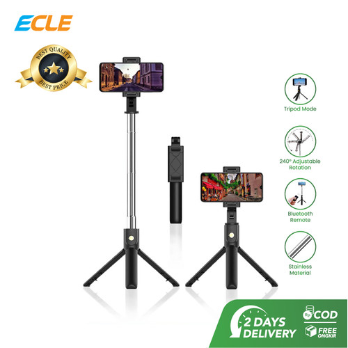 Foto Produk ECLE Selfie Stick Tripod Tongsis/Tomsis Bluetooth Remote Control dari ECLE Official Store