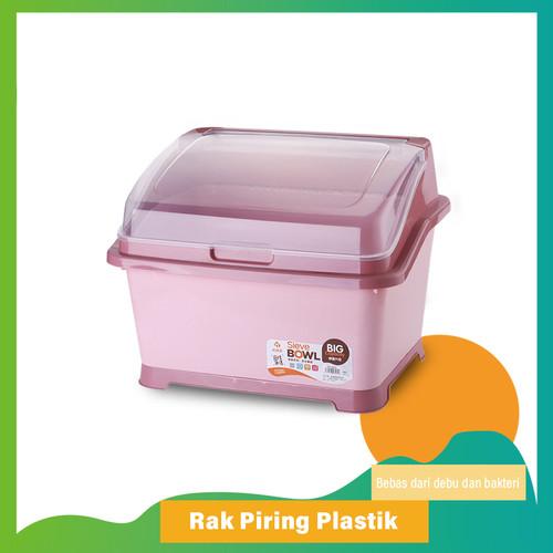 Foto Produk Rak Piring Plastik Dengan Tutup C28 Rak Piring/Mangkok/Sendok/Garpu - Pink dari Go_Go_Buy