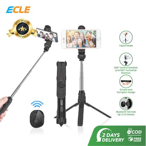 Foto Produk ECLE Selfie Stick Bluetooth Remote Tongsis/ Tripod/ Tomsis 3in1 Black dari ECLE Official Store