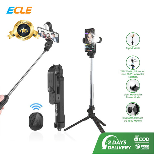 Foto Produk ECLE Selfie Stick Bluetooth Remote Tongsis With Fill Light 2in1 Black dari ECLE Official Store