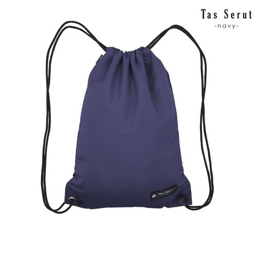 Foto Produk Tas Serut gymsack tas karung sackbag Drawstringbag Unisex - navy dari Triple F Official Store