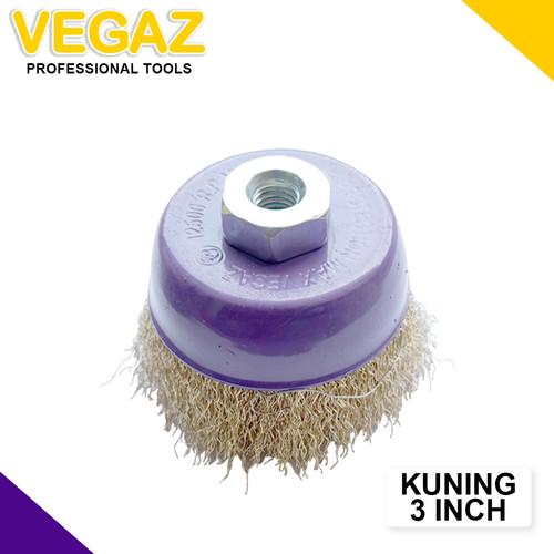 Foto Produk VEGAZ - Sikat Mangkok Kawat Kuning Cup Brush Polishing Wheel 3 Inch dari Vegaz-Tools