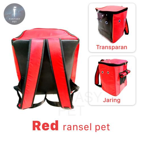 Foto Produk TERMURAH ! TAS HEWAN MODEL RANSEL pet cargo travel pet bag - RED transparan dari Fantasy Pet