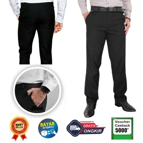 Foto Produk Celana bahan   kain   Formal kantor   Slim fit   Pria Kerja Kantoran - Hitam, 27 dari Mickonova Store