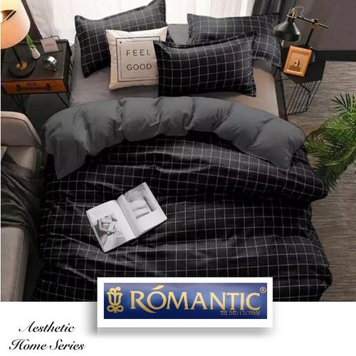 Foto Produk AESTHETIC KOREA Bedcover Sprei by ROMANTIC motif kotak hitam katun - 90x200x20 dari Tulip Romance