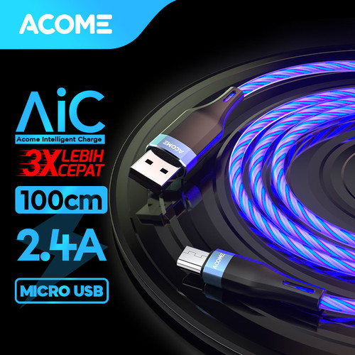 Foto Produk ACOME Kabel Data Fast Charging 2.4A Glowing LED Light Effect ARM010 - Micro USB dari Acome Indonesia