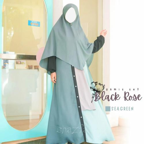 Foto Produk Black Rose by Shazfa - Seagreen, L dari gamis syari murah