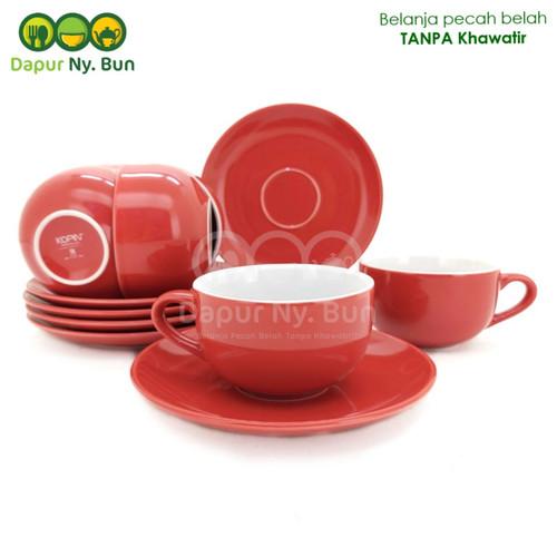 Foto Produk 6 pasang Cangkir Set Two Tone / 2 Warna - Cangkir Kopi - Teh - Merah dari Dapur Ny.Bun