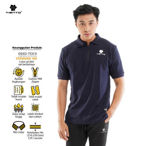 Foto Produk Tiento Polo Shirt True Basic HDC Navy Baju Kaos Kerah Lengan pendek - S dari TIENTO