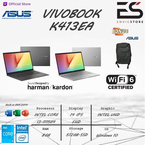 Foto Produk ASUS VIVOBOOK 14 K413EA i3 1135G7 8GB 512GB-SSD WIN-10 FREE OHS 14FHD - BLACK dari EnVicStore