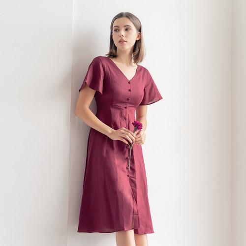 Foto Produk Chocochips - Sharon Dress Maroon - Merah, S dari Chocochips Official Shop