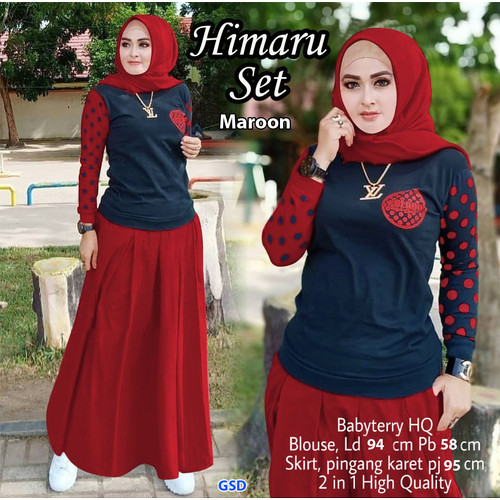 Foto Produk Himaru Set /Setelan Rok Baju Muslim Wanita - Merah dari www.grosirdress.com