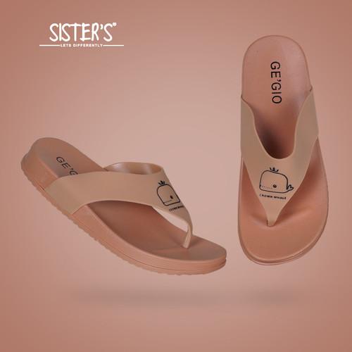 Foto Produk Sandal Jepit Karet Wanita Motif WHALE JEPIT - Sandal Jepit Imut Cute - Cokelat, 41 dari d''SISTERS