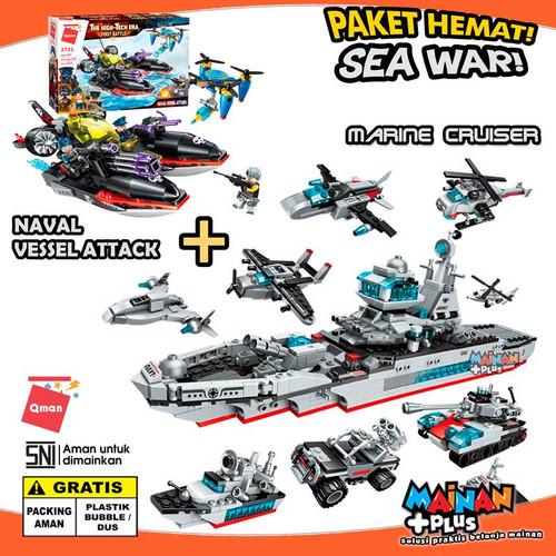 Foto Produk PAKET MAINAN BRICK LEGO QMAN SEA WAR KAPAL PERANG PERAHU TEMPUR SNI dari MainanPlus