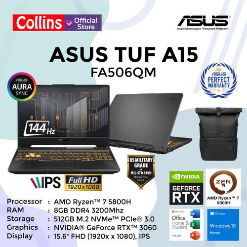 Foto Produk ASUS TUF GAMING A15 FA506QM - R7-5800H 8GB 512GB RTX3060 144Hz W10 OHS dari Collins Official