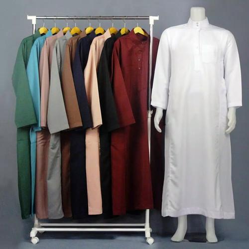 Foto Produk Baju gamis Jubah saudi Al farrasi / Gamis pria muslim - Putih, S dari tokomuslim.co.id