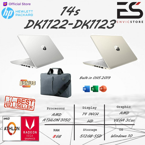 Foto Produk LAPTOP HP 14s Athlon 3150 8GB 512GB-SSD WIN 10 + FREE OHS 2019 - Silver dari EnVicStore