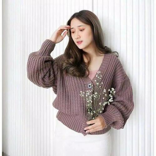 Foto Produk Cardigan Rajut Wanita Crop Basic Outerwear Get 7 Premium - Burgundy dari NF SHOP20
