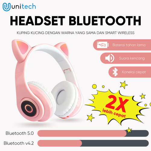 Foto Produk Unitech Headphone Headset Kucing Bluetooth Headphone Cat LED - Cream - Cream dari TokoUsbcom