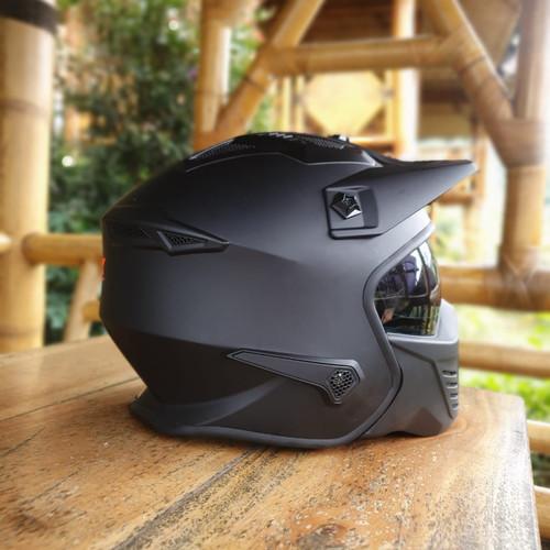 Foto Produk HELM FULL FACE - HALF FACE JPX MX 726 R - full black doff dari NOB helmet