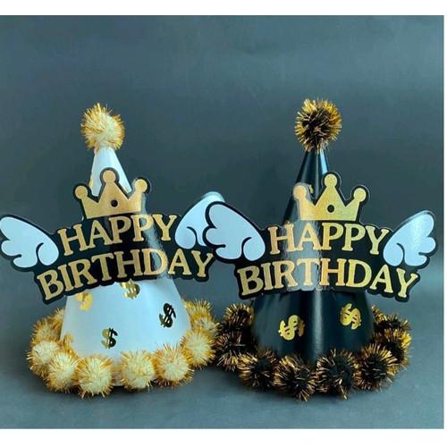 Foto Produk Topi Pesta Ulang Tahun Happy Birthday Premium Onde - Sayap dari CHOWPING_STORE