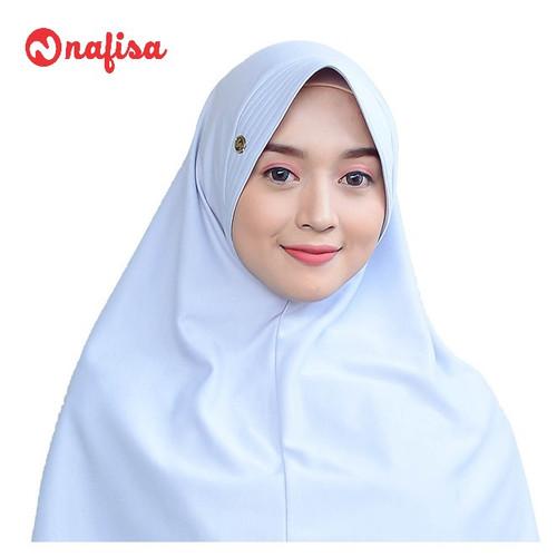 Foto Produk Nafisa Asha Size XL   Khimar Jumbo   Hijab Kaos Premium - Abu Muda dari Nafisa