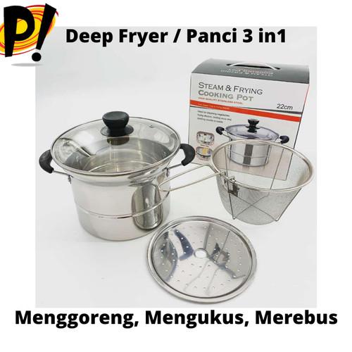 Foto Produk Deep Fryer 22 cm Multifungsi 3 in 1 - Stainless dari Cellis Houseware
