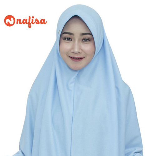 Foto Produk Nafisa Asha New Colour Size M   Hijab Kaos Premium   Jilbab Instan - Baby Blue dari Nafisa