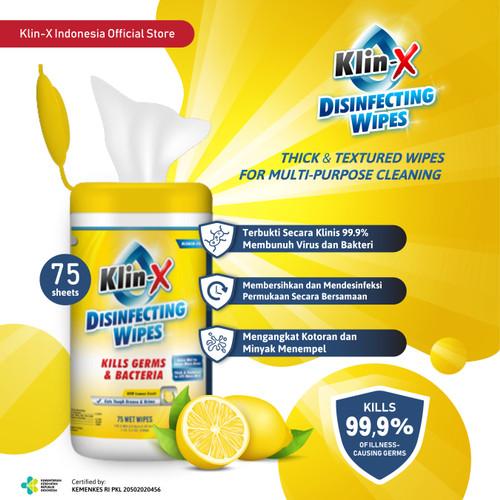 Foto Produk Klin-X Disinfecting Wipes Canister (Isi 75)- Lemon Scent (READY STOCK) dari KlinX Indonesia