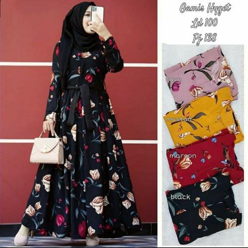 Foto Produk Gamis Hyget Busui Mona Motif Bunga Fashion Wanita Muslim Terbaru Termu - Coksulavender dari Azahra99