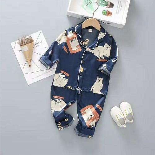 Foto Produk Piyama Anak Baju Tidur Anak Setelan Motif Panjang Import Satin Silk BR - 1/5-1 tahun dari fashion market
