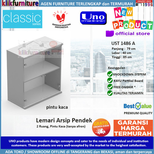 Foto Produk UST 1486A UNO Lemari Arsip Pendek Kaca Bagian Atas dari klikfurniture