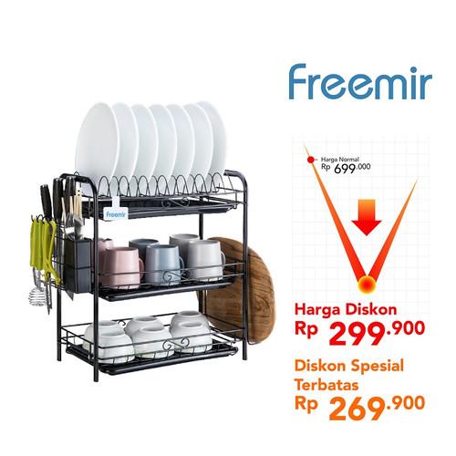 Foto Produk Freemir rak piring peralatan makan serbaguna multifunctional dish rack - 3 Susun dari freemir Official Store