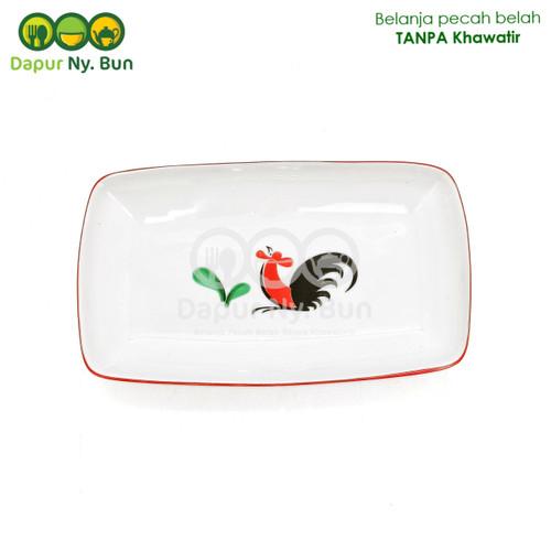 Foto Produk Piring Saji Segi - Motif Ayam Jago Seri 2 dari Dapur Ny.Bun