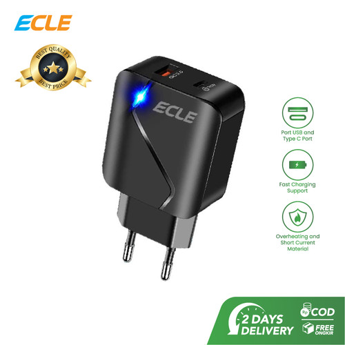 Foto Produk ECLE Adaptor Kepala Charger Fast Charger Type C 18W PD QC 3.0 5A dari ECLE Official Store