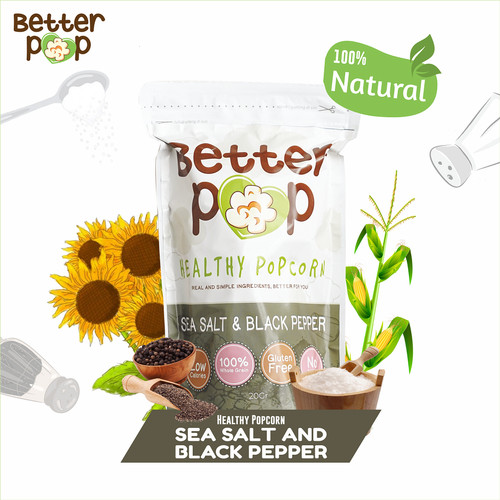 Foto Produk BetterPop Sea Salt & Black Pepper Popcorn Single Pack dari BetterPop Popcorn
