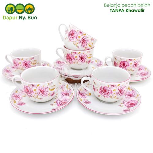 Foto Produk 6 Pasang Cangkir Teh Set Motif DOUBLE ROSE Ukuran 220ml dari Dapur Ny.Bun
