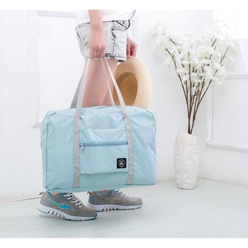 Foto Produk 333 Korean Easy Travel Bag foldable Tas travel hand carry - Biru Muda dari angel-city