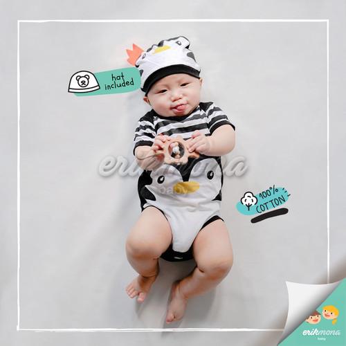 Foto Produk baju jumper bayi karakter penguin hitam lucu - S dari ermon baby and kids
