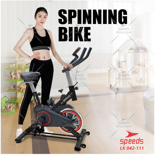 Foto Produk Spinning Bike FREE ALAS MATRAS Sepeda Statis Rumah Fitnes LX 042-2 806 - Hitam dari Speeds Official Store
