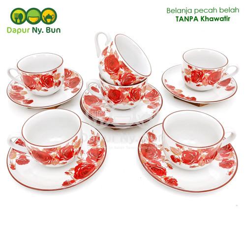 Foto Produk 6 Pasang Cangkir Teh Set Motif DOUBLE ROSE Ukuran 220ml - Merah dari Dapur Ny.Bun