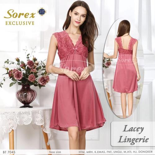 Foto Produk Sorex Lacey Lingerie Baju Tidur Premium Satin Brukat Bunga BT 7045 - Merah dari Sorex Official Store