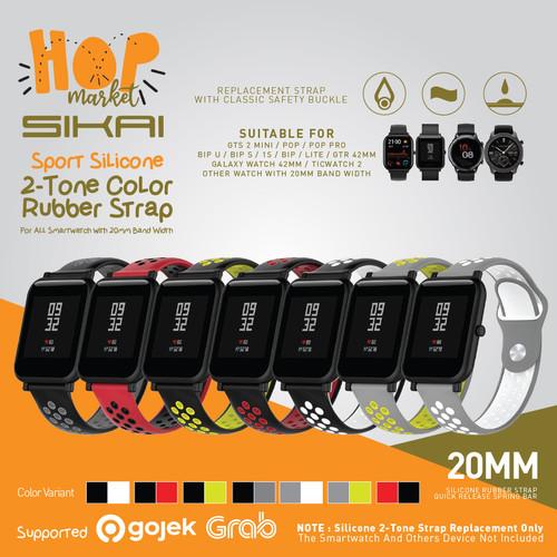 Foto Produk SIKAI SPORT DUAL TONE Silikon Strap 20MM Amazfit GTS 1 2 / BIP U S PRO - BLACK LIME dari HOP Market