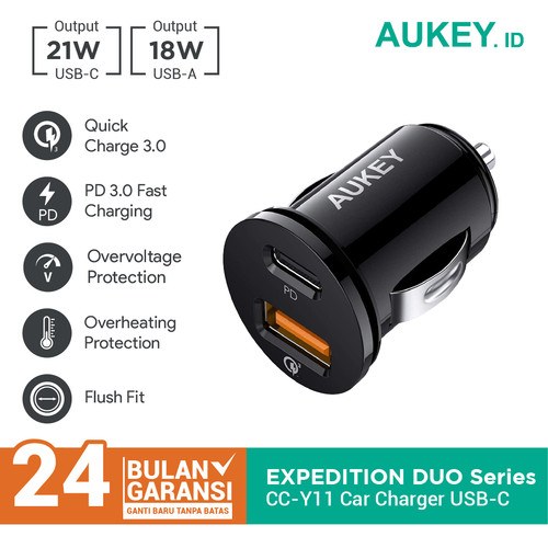 Foto Produk Aukey Car Charger CC-Y11 with PD + QC 3.0 - 500476 dari AUKEY