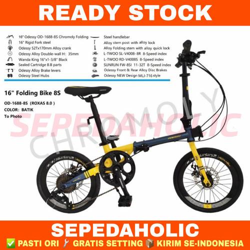 Foto Produk Sepeda Lipat 16 Inch ODESSY ROXAS 8.0 Chromoly 8 Speed - Yellow Blue dari Sepeda Holic