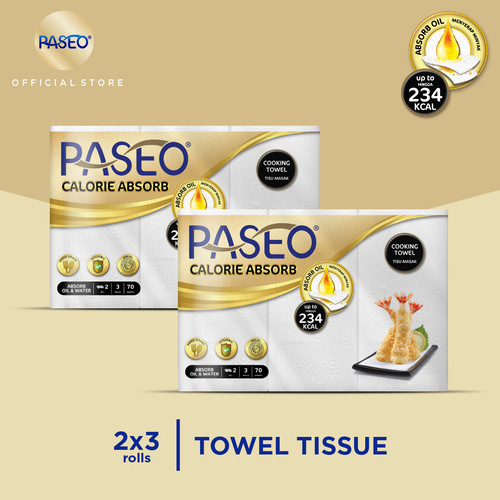 Foto Produk Paseo Calorie Absorbs Cooking Towel Roll White Emboss 70's 3 Roll x 2 dari Paseo Tissue Official