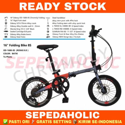 Foto Produk Sepeda Lipat 16 Inch ODESSY ROXAS 8.0 Chromoly 8 Speed - Grey Red dari Sepeda Holic